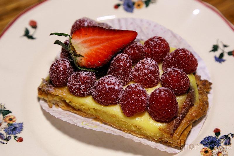 gâteau match à framboise